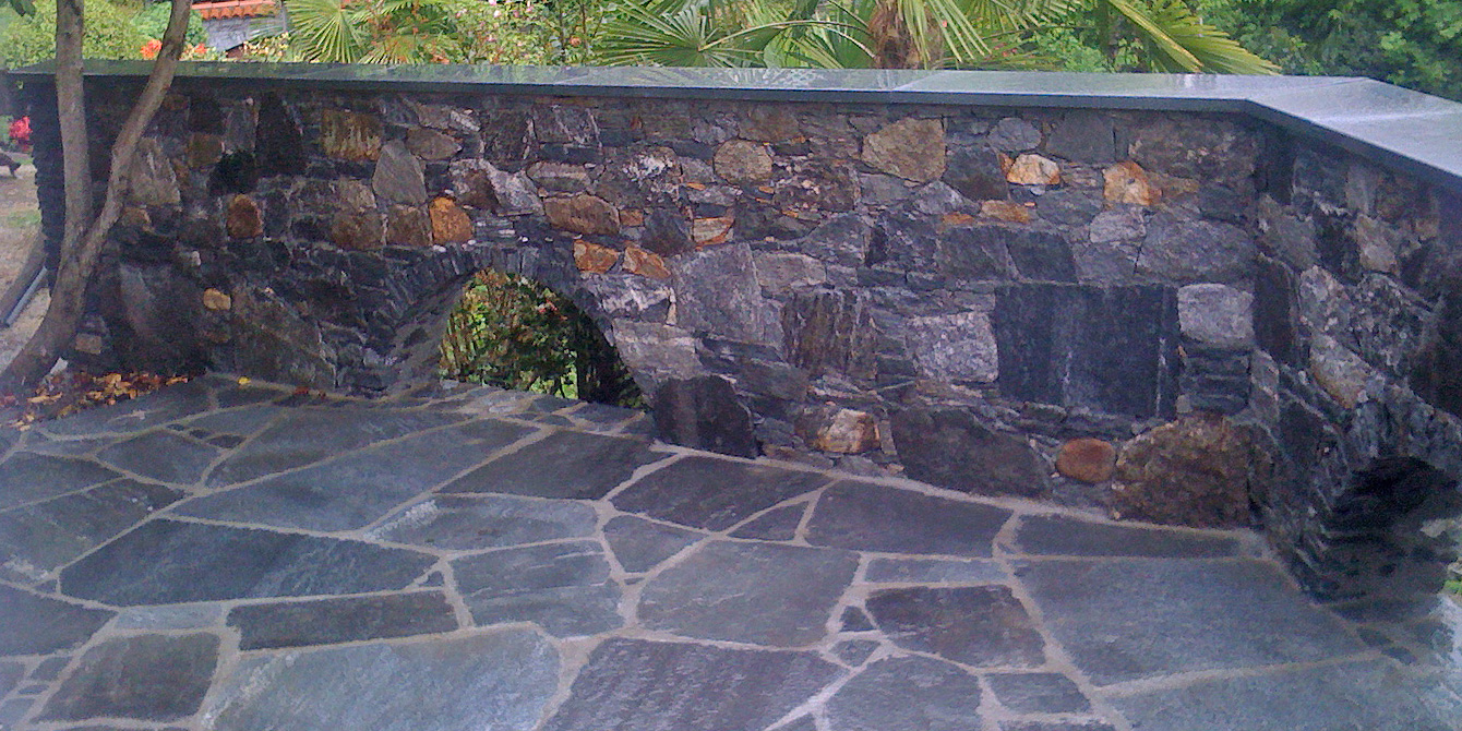Custom arch with stone walls and floors dedicated to plants