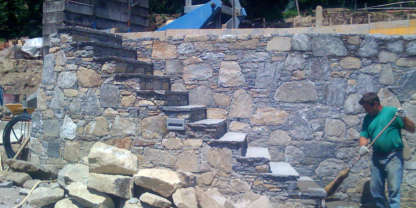 Stairways rock walls and natural stone