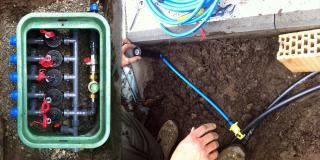 Plumbing for automatic irrigation